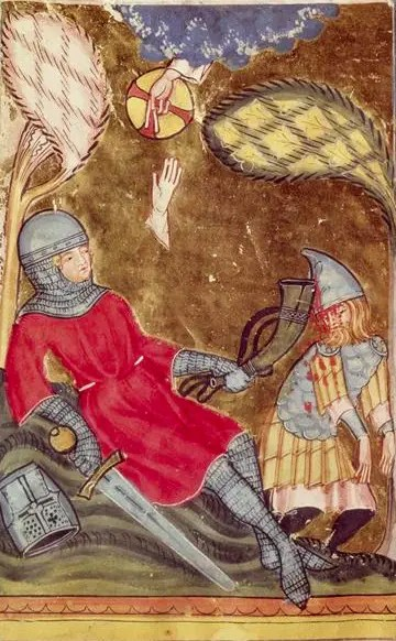 Mort de Roland. Enluminure extraite de la Chronique du monde de Rudolf von Ems