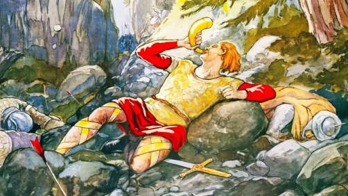 Roland sonnant le cor (l'olifant) à Roncevaux