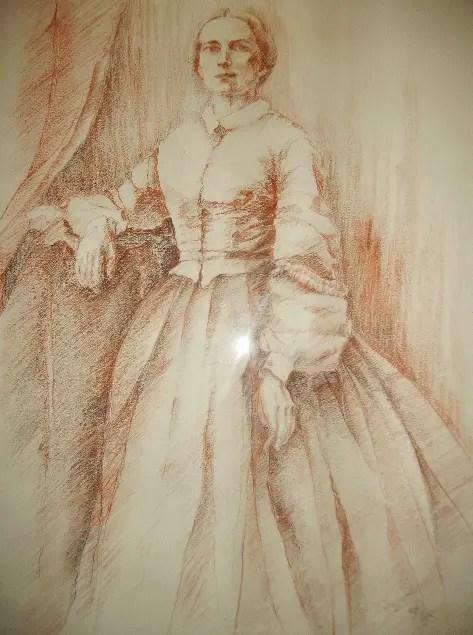 Julie-Victoire Daubié (sanguine de Gisèle Crouzat (Manufacture Royale de Bains les Bains)