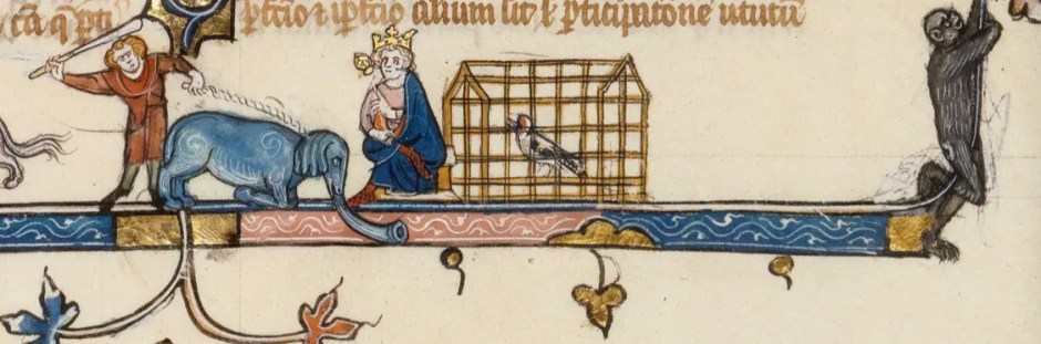 """Éléphant présenté à un roi (dessin en marge inférieure). Extrait de """"Albert le Grand, De animalibus"""", XIIIe siècle. (BnF)"""