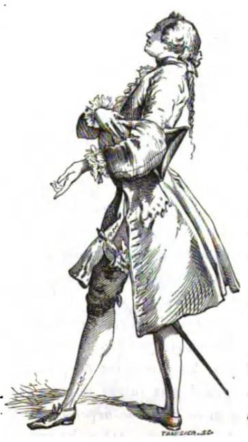 Habit de cérémonie et Perruque Commune 'ou Nattée) vers 1750 d'après une gravure du temps