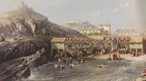 La plage de Biarritz sous le Second Empire