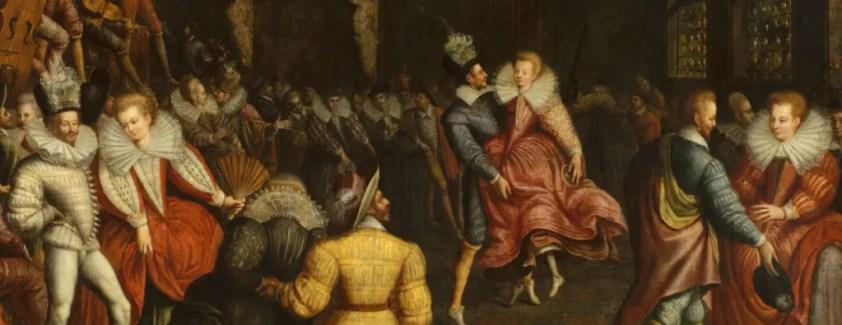 Bal à la cour des Valois vers 1580, école française - Musée des Beaux-Arts de Rennes. Les femmes portent des fraises ouvertes