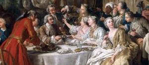 """""""Le déjeuner de chasse"""", peint en 1737 par Jean-François de Troy, détail - Musée du Louvre"""