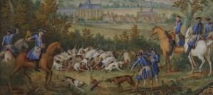 Les Chasses de Louis XVI : La Grande Curée du cerf en forêt de Saint-Germain-en-Laye, détail - Tableau issu d'un ensemble de neuf plaques commandées par Louis XVI à la Manufacture de Sèvres - Collections du château de Versailles