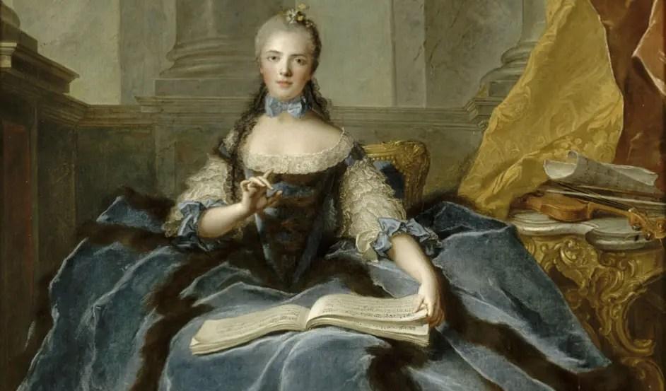 """Madame Adélaïde """"solfiant"""" par Jean-Marc Nattier (détail) - Château de Versailles, appartements de Mesdames"""