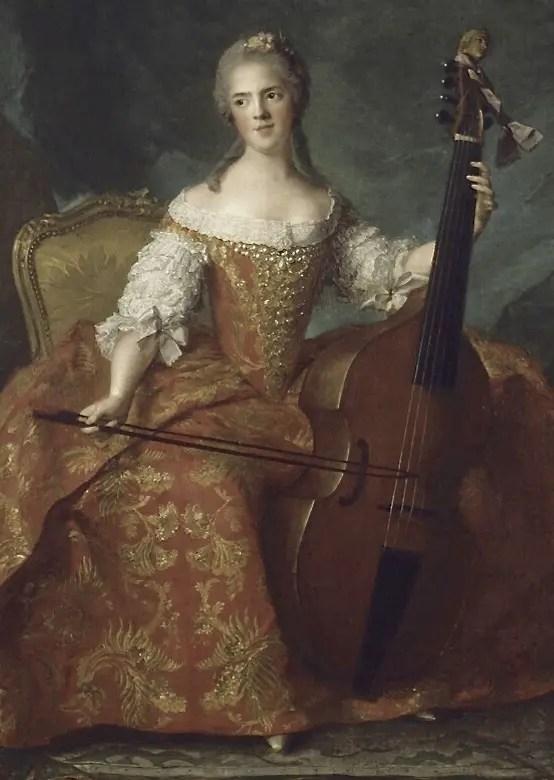 Madame Henriette jouant du violoncelle, achevé après sa mort en 1554 par Jean-Marc Nattier- château de Versailles, appartements de Mesdames