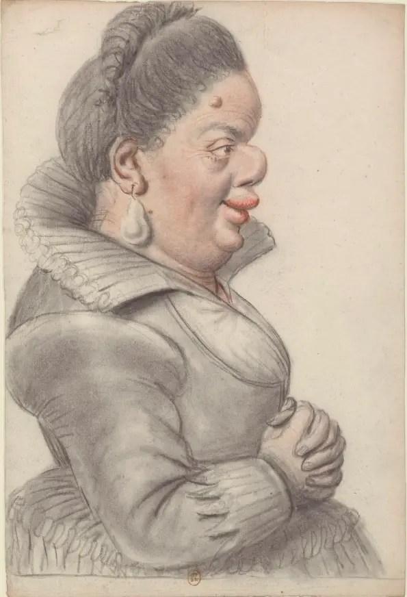 """""""Femme naine de profil"""", dessin de Lagneau (première moitié du XVIIème siècle) - Gallica BNF"""