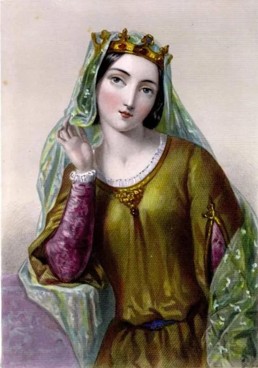Représentation d'Isabelle d'Angoulême dans une série d'illustrations des Reines d'Angleterre datant du XIXème