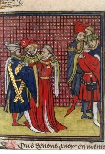 Seigneurs complotant, détail d'une enluminure extraite des Grandes Chroniques de France, Paris XVeme siècle (BNF)