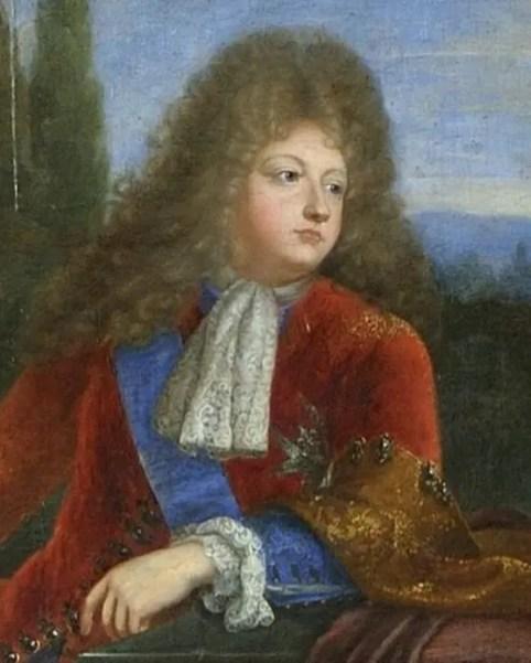 Le Grand Dauphin, fils de Louis XIV, en 1693 (détail d'une peinture de Jeremie Delutel d'après Mignard)