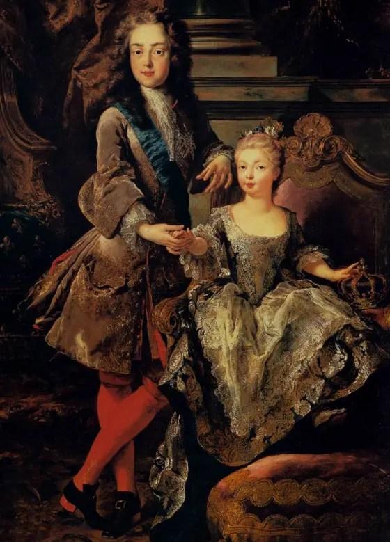Louis XV et sa fiancée Marie-Anne de Bourbon par François de Troy en 1723 (Palais Pitti)