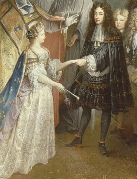 Mariage de Louis, duc de Bourgogne et aîné des petits-fils de Louis XIV, avec Marie-Adelaïde de Savoie, par Antoine Dieu (réalisé en 1715 et conservé dans les collections du château de Versailles - détail)