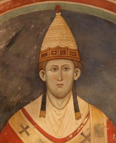 Innocent III représenté vers 1219 sur une fresque du monastère de Subiaco en Italie, par un artiste inconnu (détail)