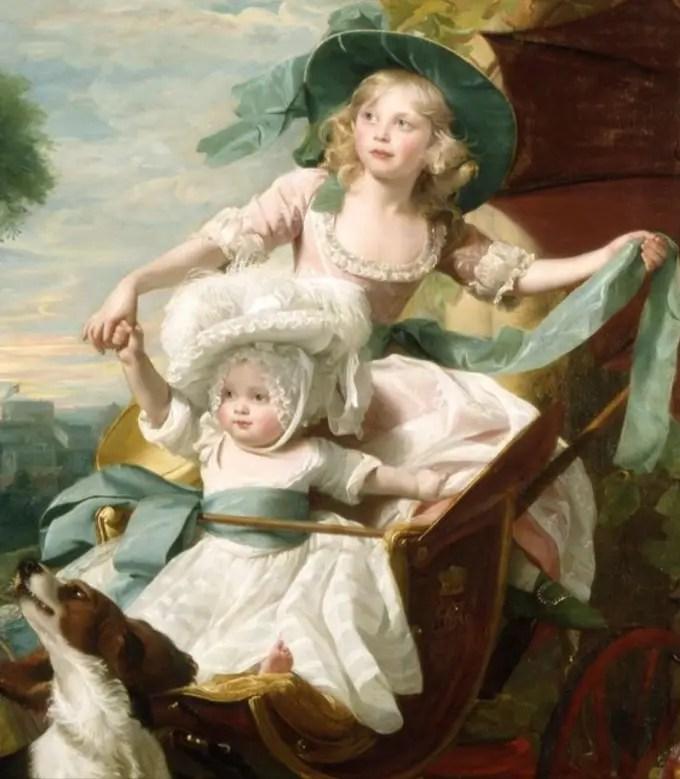 Amélia, en compagnie de sa soeur Sophia (détail d'un tableau de John Singleton Copley en 1785 représentant les trois plus jeunes soeurs, Amélia, Sophia et Mary - Buckingham Palace)
