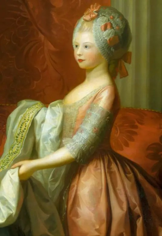 Charlotte, Princess Royal, par Benjamin West en 1776 (détail - Collection Elizabeth II)