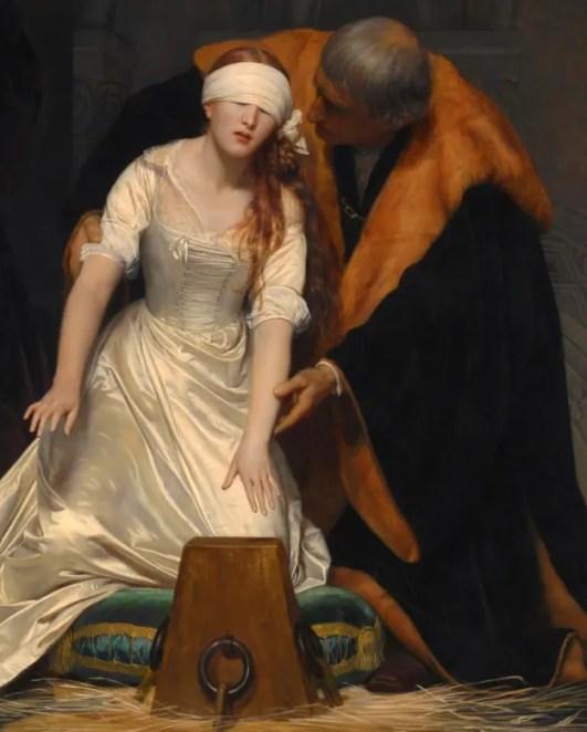 Détail d'un tableau représentant l'exécution de Jane Grey, par Paul Delaroche (National Gallery, 1833)