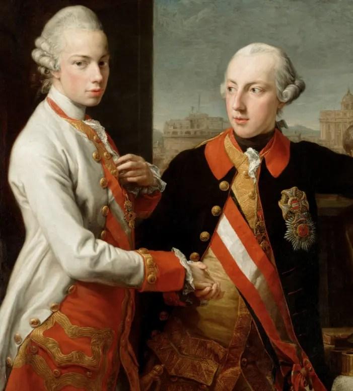 Joseph II (à droite), avec son frère Léopold, grand-duc de Toscane, en 1769 par Pompeo Batoni (Kunsthistorisches Museum, Vienne)