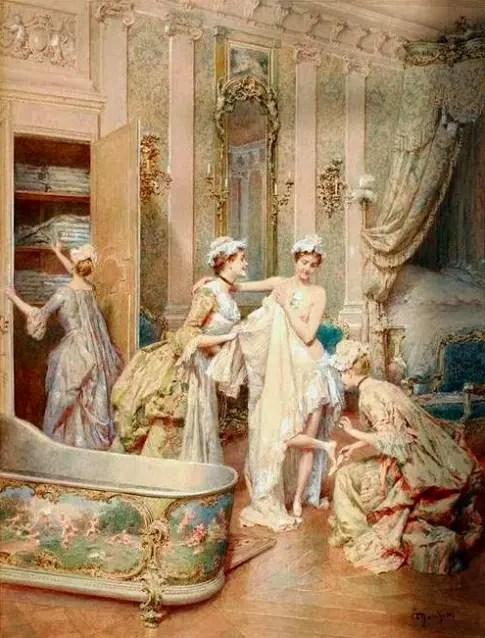 Illustration du bain à Versailles au XVIIIème