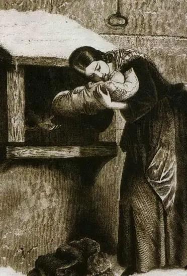 Estampe d'une mère abandonnant son enfant dans une tour