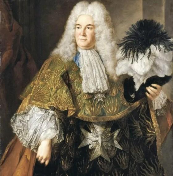 Antoine Crozat en habit de Grand Trésorier décoré de l'Ordre du Saint-Esprit après sa nomination en 1715 (portrait par Alexis Simon Belle - Versailles)