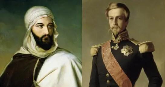 Abd El-Kader par Marie-Eleonore Godefroid (Musée de l'Armée) et Henri d'Orléans, duc d'Aumale en 1843 en uniforme d'officier général d'après Winterhalter (Château de Versailles)