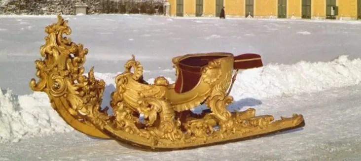 Traîneau datant du début du XVIIIème siècle à la Cour de Vienne