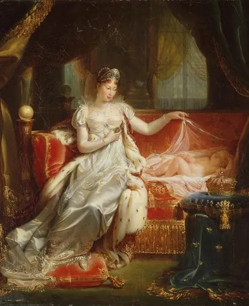 Marie-Louise veillant sur le sommeil du roi de Rome, par Joseph Franque en 1811 (Collection du château de Versailles)