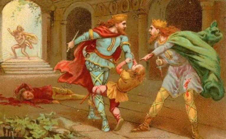 Lithographie représentant l'assassinat des fils de Clodomir (1890, série sur les Rois de France)