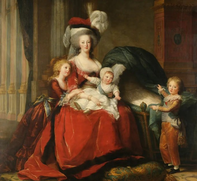 Marie-Antoinette et ses enfants par Elisabeth Vigée Lebrun en 1787 (dans le berceau était représentée la petite Sophie)