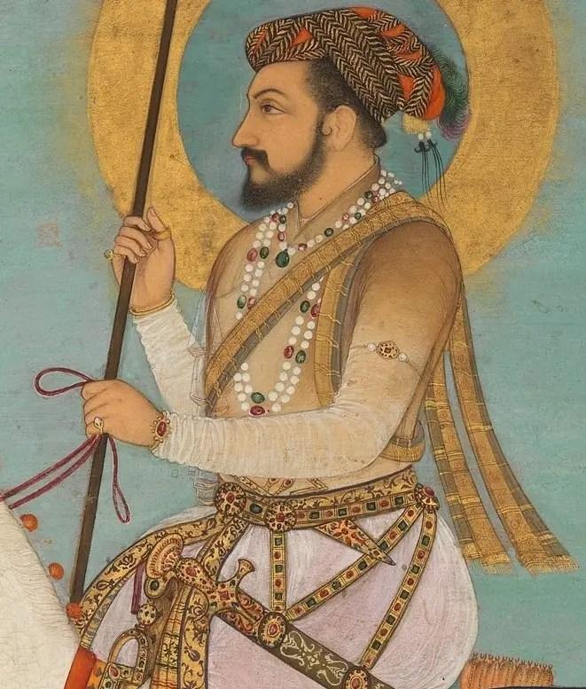 Détail d'une caligraphie représentant Shah Jahan (père d'Arangzeb) à cheval (Album Shah Jahan, XVIIeme siècle)