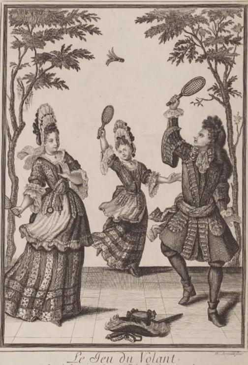 Le jeu du volant, par Nicolas Arnoult, gravure fin XVIIème (Museum of Fine Arts, Boston)