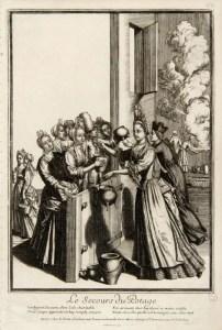 Le secours du potage à Paris pendant la famine de 1709 - Musée Carnavalet - eau forte d'Andre le Roux (1709)