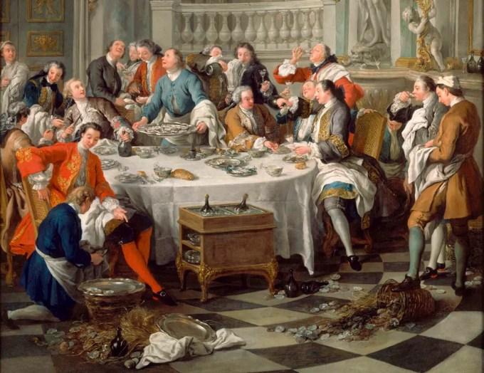 Le repas d'huitres par François de Troy (commandé par Louis XV et achevé en 1735) Musée Condé