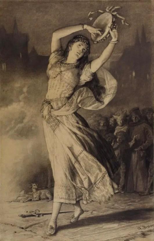 Esmeralda - Dessin au fusin de Gustave Brion en 1876 - Hauteville House