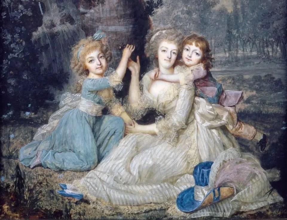 Marie-Antoinette et ses enfants au pied d'un arbre - Miniature de François Dumont en 1790 - copie des archives nationales