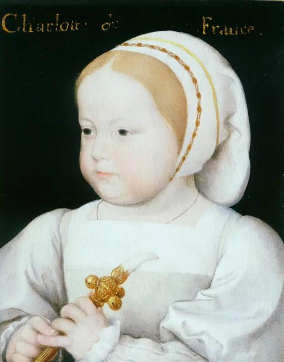 La petite Madeleine de France, fille de Francois Ier, vers 1522 (faussement identifiée par une inscription tardive comme la princesse Charlotte de France). Elle tient dans ses mains un hochet typique de cette époque.