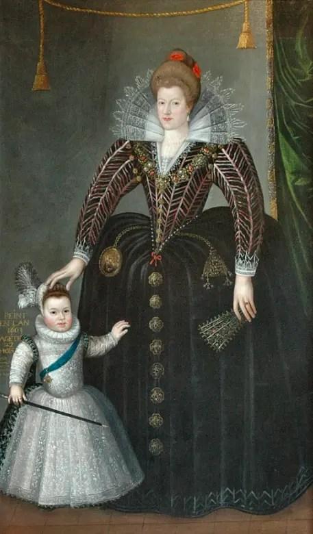 Marie de Médicis et son fils le dauphin Louis, futur Louis XIII, âgé de 3 ans - Peinture par Charles Martin en 1603 - Musee des Beaux-Arts de Blois