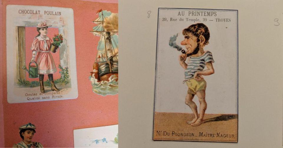 Zoom sur des planches de cartes-réclame (Chocolat Poulain ou Le Printemps !)