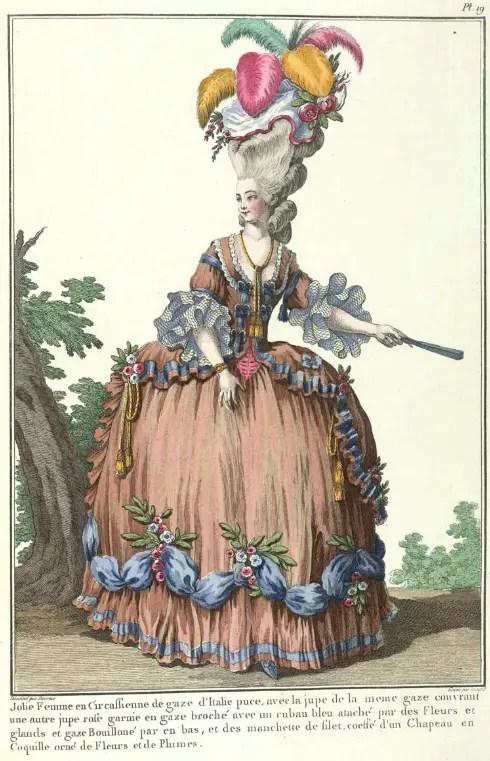 Marie-Antoinette ou l'éloge de la couleur ... - Page 5 A-Circassian-dress-of-puce-Italian-gauze-from-Galerie-des-modes-et-costumes-francais-dessines-dapres-nature-1778-1787-Originally-published-1911-14-L.R.32.b.2