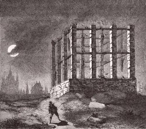 Vue romantique du gibet de Montfaucon
