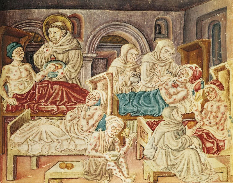 Miniature montrant François d'Assise et d'autres religieux semblant s'occuper de malades atteints de lèpre ou plus vraisemblablement de petite vérole - La Franceschina (1474)