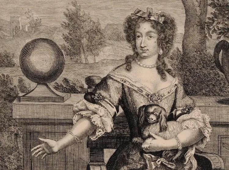 Marie-Anne de Bavière, dauphine de France, des mouches sur le visage (elles servaient souvent à camoufler les traces de petite vérole) - Estampe (Gallica)