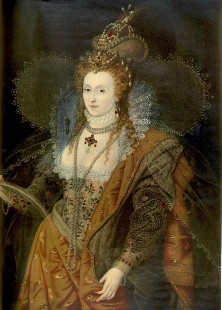 """Lithographie en couleur du """"Rainbow Portrait"""" d'Élisabeth Ière, réalisé entre 1600 et 1602 et conservé aujourd'hui à Hatfield House (le portrait est commandé à la fin de sa vie mais la représente dans tout l'éclat de sa jeunesse)"""