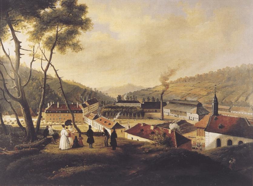 Village de Saint-Louis et sa manufacture par Pingret en 1836