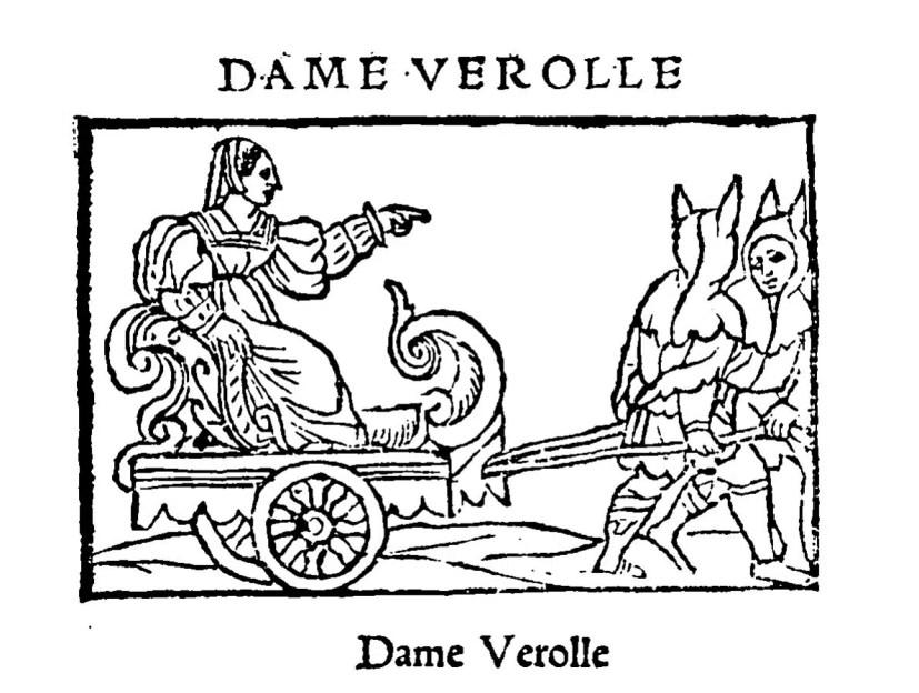 Gravure insérée dans un ouvrage intitulé « Le triomphe de très haute et puissante Dame Verolle, reine du puit d'amours » imprimé en 1539