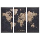 Explore Cadre triptyque mappemonde noir 180x120 150€