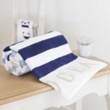 Océan Serviette de bain rayée en coton bleu 50x100