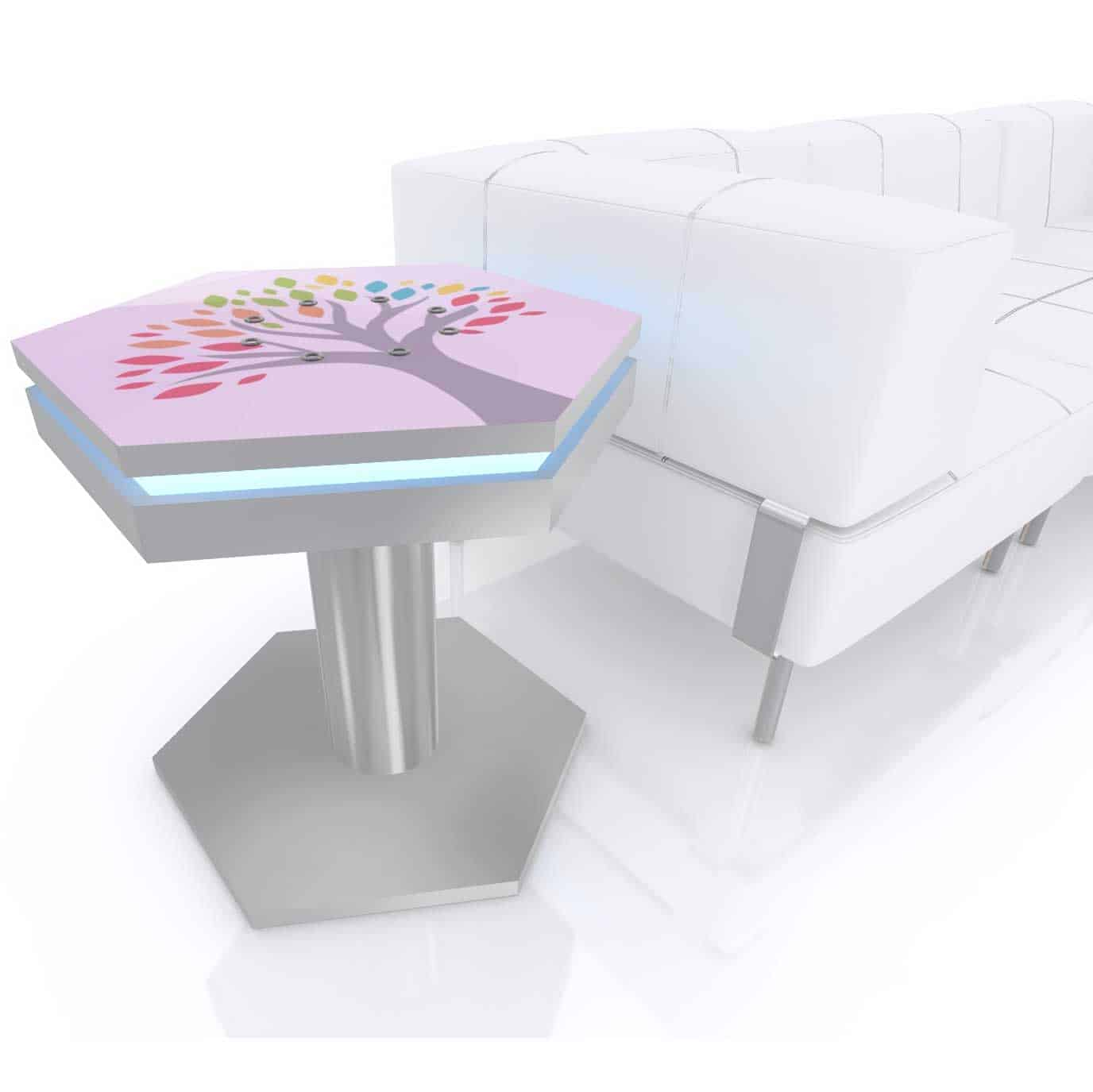 hexagon end table with led rim usb charging 1 8x2 ft