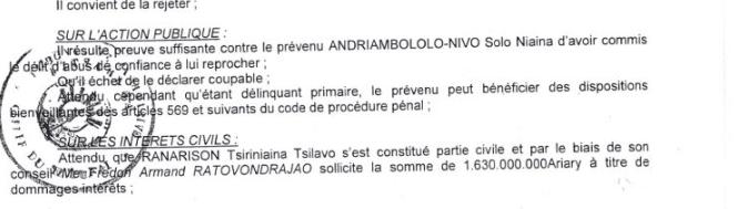 """RANARISON Tsilavo le jugement se contente de dire quil résulte de preuve suffisante pour condamner Solo - RANARISON Tsilavo affirme lors de l'audience du 8 décembre 2015 """"Tous nos produits à l'arrivée sont tous accompagnés de déclaration en douane""""  comme l'atteste les déclarations de la douane française"""